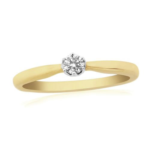 Solitaire Single Stone Six Claw Engagement Ring Yellow Gold 10 Points